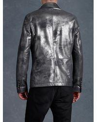 John Varvatos Metallic Distressed Leather Jacket for men