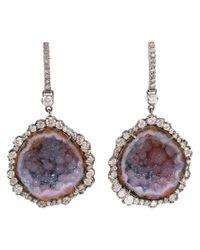 Kimberly Mcdonald Multicolor Diamond And Geode Earrings