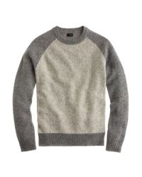 J.Crew Gray Donegal Wool Baseball Sweater for men