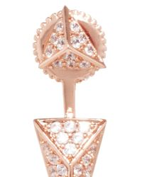 Fallon | Pink Rose Gold Sinead Pyramid Convertible Earrings | Lyst