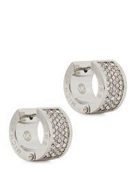 Michael Kors | Metallic Pavé Crystal Hoop Earrings | Lyst