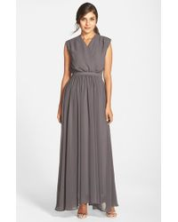 Paper Crown | Gray By Lauren Conrad 'jillian' Sleeveless Surplice Chiffon Gown | Lyst