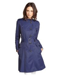 Cole Haan | Blue Marine Cotton Blend Double Breasted Trench Coat | Lyst