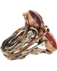 Sandra Dini - Metallic Coral Ruby Opal Ring - Lyst