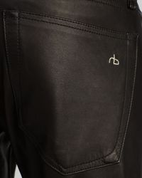 Rag & Bone - Jeans - The Dre In Black Leather - Lyst