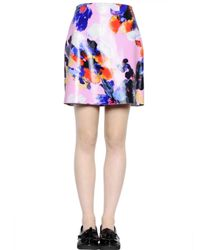 MSGM Blue Floral Printed Nappa Leather Mini Skirt