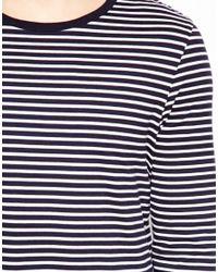 ASOS Blue Stripe Long Sleeve Top for men