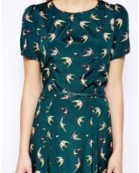 Oasis - Multicolor Bird Print Belted Skater Dress - Lyst