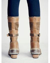 Free People | Brown Conquest Carly Leather and Suede Boots | Lyst