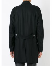 Diesel Black Gold - Black Double Breasted Military Coat for Men - Lyst