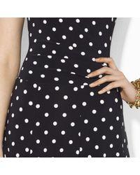 Lauren by Ralph Lauren - Black Polka-dot-print Fit And Flare Dress - Lyst