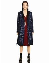Tory Burch - Blue Sequined Brushed Wool Blend Coat - Lyst
