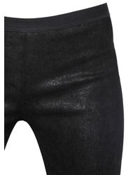 Rick Owens Black Stretch Nappa Leather Pants for men
