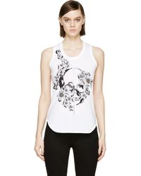 Alexander McQueen White Ivy Jet Skull Embroidered Tank Top