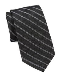 Calvin Klein | Black Grid Textured Silk-rich Tie for Men | Lyst