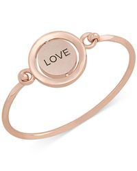 Carolee - Metallic Rose Gold-Tone Word Play Love Spinning Charm Bangle Bracelet - Benefits The Breast Cancer Research Foundation® - Lyst
