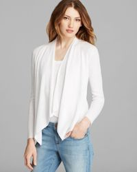 Eileen Fisher White Angled Front Cardigan