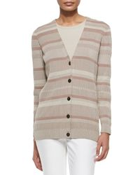 Lafayette 148 New York - Natural Long-sleeve V-neck Cardigan - Lyst