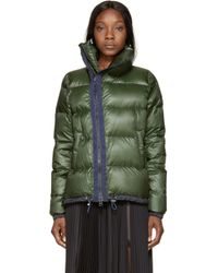Sacai Luck   Green And Navy Down Stand Collar Jacket   Lyst