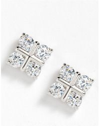 Lord & Taylor | White Cubic Zirconia Sterling Silver Earrings | Lyst