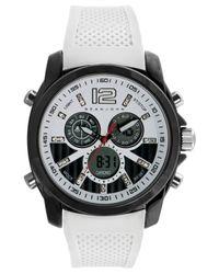 Sean John Men'S Analog-Digital White Silicone Strap Watch 55X49Mm 10021789 for men