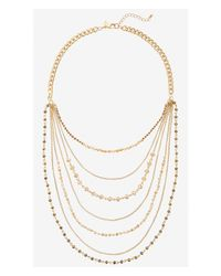 Express - Metallic Nested Chain And Faceted Bead Necklace - Lyst