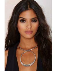 Nasty Gal - Metallic In The Hoop Collar Necklace - Lyst