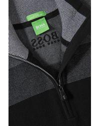 BOSS Green | Black Zip-neck Sweater 'zelchior Pro' In Water-repellent Cotton Blend for Men | Lyst