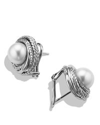 David Yurman | White Pearl Crossover Earrings With Diamonds | Lyst