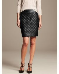 Banana Republic Black Quilted Faux-Leather Pencil Skirt