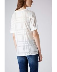 TOPSHOP - White Burnout Check Tee - Lyst