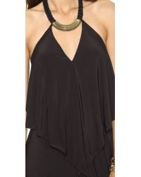 T-bags Convertible Maxi Dress with Necklace - Black