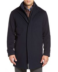 Peter Millar | Blue 'sebastian - Loro Piana' Water-resistant Wool Car Coat With Removable Bib for Men | Lyst