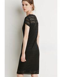 Forever 21 - Black Shadow Stripe Cap-sleeve Dress - Lyst