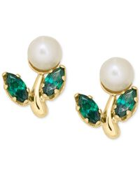 Macy's - Metallic Cultured Freshwater Pearl And Green Crystal Stud Earrings In 14k Gold - Lyst