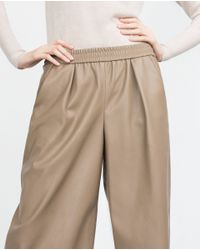 Zara | Natural Faux Leather Culottes | Lyst