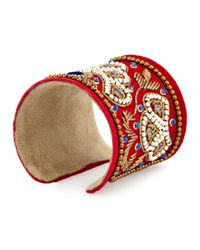 Chamak by Priya Kakkar | Red Velvet Beaded Cuff Bracelet | Lyst