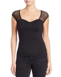 Guess   Black Mesh-accented Top   Lyst