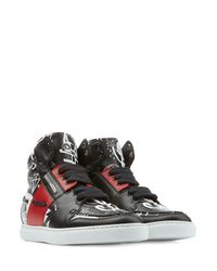 DSquared² | Blue Leather High-Top Sneakers for Men | Lyst