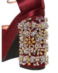 Rochas | Metallic Crystal-Embellished Satin Pumps | Lyst