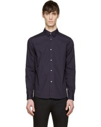 A.P.C. - Blue Dark Navy Tiny Floral Print Casual Shirt for Men - Lyst