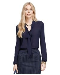Brooks Brothers | Blue Bow-front Blouse | Lyst