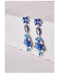 Missguided | Statement Crystal Drop Earrings Blue | Lyst