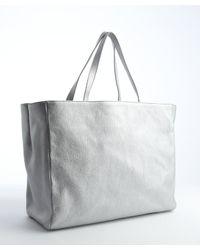 Saint Laurent - Metallic Silver Leather Shoulder Bag - Lyst