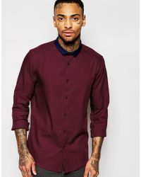 ASOS | Purple Shirt With Long Sleeve And Contrast Collar for Men | Lyst