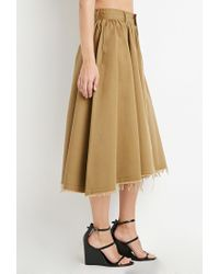 Forever 21 | Natural Frayed Midi Skirt | Lyst