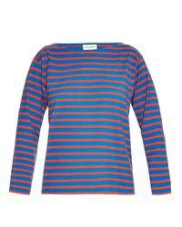 Saint Laurent - Blue Breton-stripe Cotton-jersey Top - Lyst