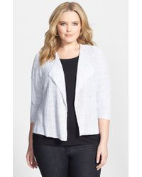 Eileen Fisher - Metallic Drape Front Organic Linen Sweater Jacket - Lyst