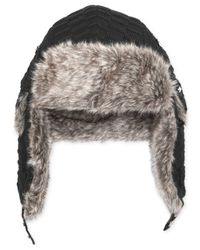Sean John Black Ribbed Faux-fur-lined Trapper Hat for men