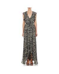 L'Agence Multicolor Women's Sophie Long V-neck Flutter Dress